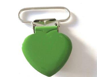 1 pacifier clip in dark green metal heart shape