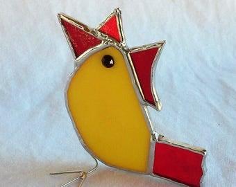 Yellow Hen Stained Glass Suncatcher Housewarming Gift Farmhouse Chicken