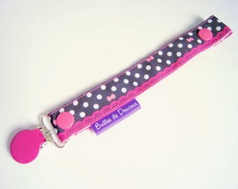 Pacifier clip-hot pink lace