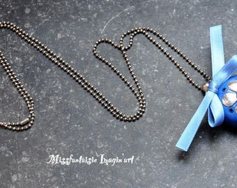 """Polymer clay and satin """"Flower and bow"""" Necklace blue"""