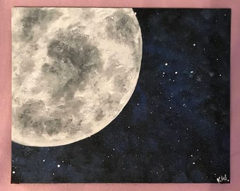 8x10 Moon and Space Dust Canvas Painting
