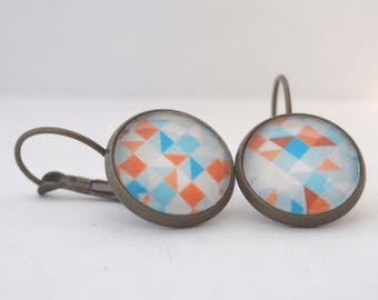 Earrings cabochon Orange, blue and white triangles