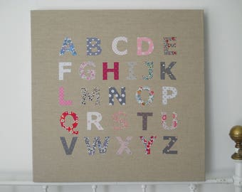 Alphabet table linen and Liberty letters