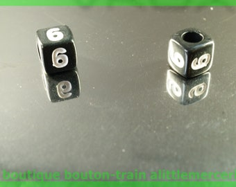 number 6 cube bead 6 mm black and white plastic