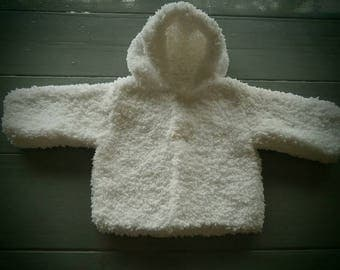 Hand knitted hooded coat