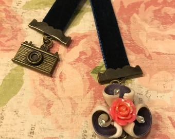 Floral Navy Blue Velvet Ribbon Bookmark, Stocking Stuffer