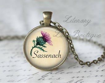 Sassenach, Scottish Thistle, Outlander Necklace or Keyring, Keychain.