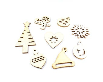 8 figures of natural wood Christmas embellishments around 28-60mm x 20-30mm * Christmas Deco *.