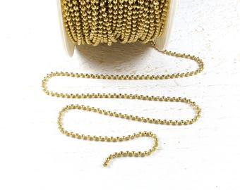 2 meters of faceted gold colored metal ball chain approximately 2mm