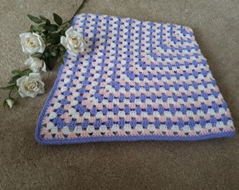 Lilac pink and white baby blanket