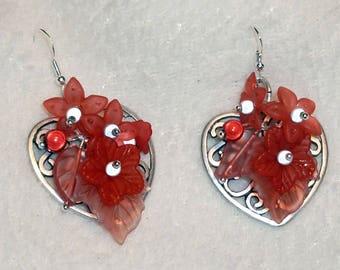 Earrings - heart of passion flowers