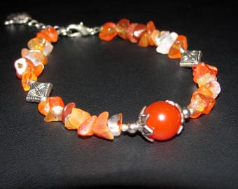 Bracelet genuine carnelian gemstones and stars