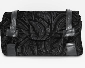 Black Etched Real Leather Medium Handbag