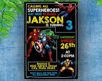 Superhero Invitation, Superhero Invitation Birthday, Superhero Invitations Hulk, Avenger Invitation, Superhero Avenger