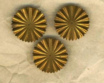 Three prints vintage round copper Sunray, 30 mm diameter