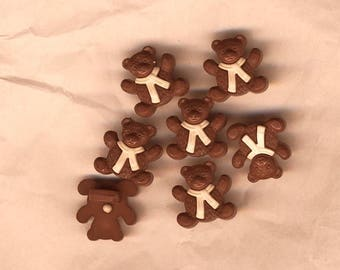 Seven children buttons, brown bear with white collar, scrapbooking, couyture teddy bear buttons, kid's clothes buttons.