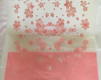 10 Japanese Cherry Blossom Sakura Pink Gift Bag Die Cut Bags