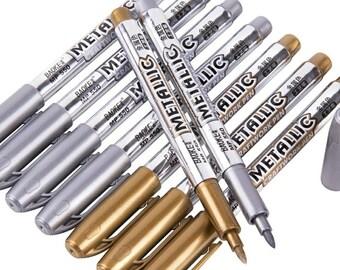 Gold Marker, Silver Marker, Metallic Pen, Metallic Marker, Glitter Pens, Brush Markers, Calligraphy Pen, Brush Lettering, Card Making