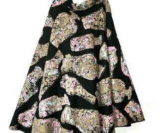 Vintage 50s felt painted OLGA skirt M