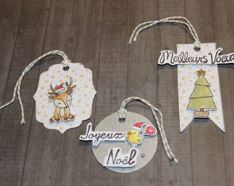 set of 3 gift tags Christmas characters