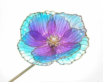 Big Rainbow Poppy Flower Hair Stick Japanese Kanzashi Pin Transparent Resin Wire Bridal Resin Flower Wedding Accessories Sakae