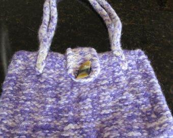 Handmade knitted purple/cream handbag