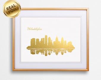 Philadelphia City Skyline Gold Print, Real Gold Foil Print, Philadelphia Poster, Philadelphia Wall Art, Philadelphia Print, GoldenGraphy