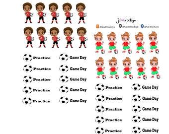 Boy playing soccer sticker sheet or die cuts