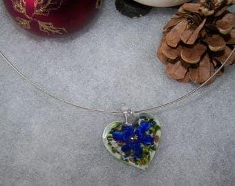 heart style murano white & blue flower