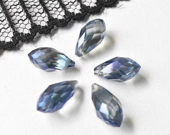 SWAROVSKI CRYSTAL PEARLS TASSEL 6X12MM (D45) BLUE CRYSTAL DROP
