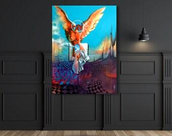 Angel - Original Painting by Surrealist Master Quevedo