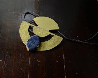 Brass and lapis lazuli necklace set