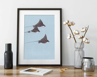 ORIGINAL Ink Drawing of Eagle Rays