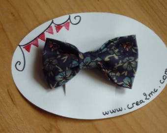 Navy blue bow Barrette and flowers
