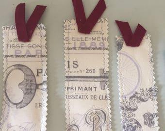 Handmade fabric bookmarks