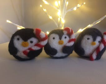 Needle felt Penguin Christmas gift for her festive ornament decoration winter
