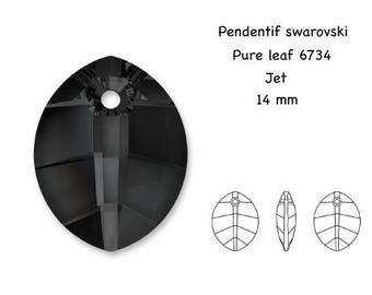 Pendant Swarovski pure leaf 6734, jet, 14 x 11 mm, 5.1 mm, hole 1.6 mm thick