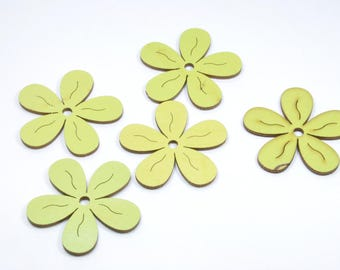 LT14 - Set of 5 wooden Brown and green flowers