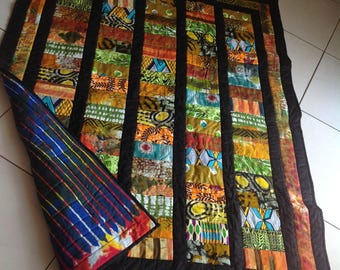 African Wax Print and Batik Quilt 'Fire'