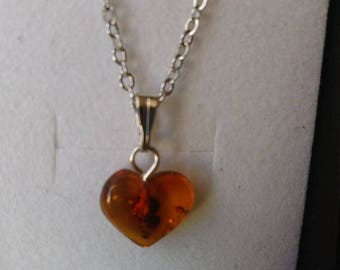 Amber Baltic (Poland) mounted on stainless steel Heart Necklace