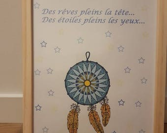 """Poster with quote frame """"dreams full head, with full eyes"""""""