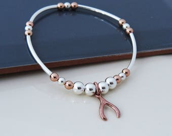 Sterling Silver - Rose Gold  Bracelet with Wishbone Charm, Silver Bead Charm Bracelet, Gift for Women,