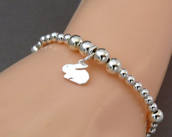Sterling Silver Rabbit Charm Bracelet, Silver Bead Stacking Bracelet, Easter Rabbit Bracelet, Pet Jewelry