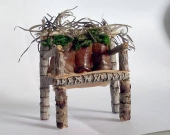 Fairy Miniature Rustic Chair with Pine Cones and Tree Bark Seat
