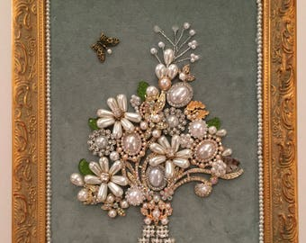Charming shabby chic vintage pearl & rhinestone bouquet on velvet, framed gift