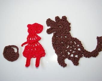 Kit scrapbooking embellishment crocheted little Red Riding Hood and Wolf