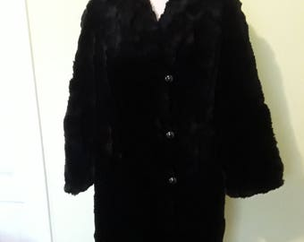 Vintage Sheared Muskrat Black Coat Genuine Black Muskrat Fur Coat Full Length