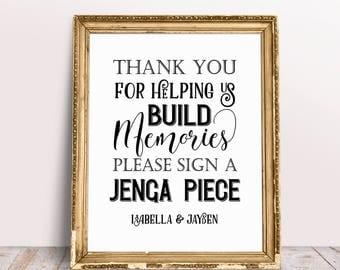 Help Us Build Memories Jenga Sign, Personalized Jenga Sign, Jenga Guestbook Sign, Wedding Signs, Custom Wedding Sign, Custom Signs