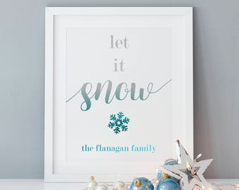 "PERSONALIZED FOIL ""Let it Snow"" Art Print, Wall Decor"