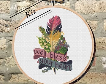 KIT: Bless Your Heart Cross Stitch Kit/Southern Inspired/Feather/Floral/Sassy/Snarky/Modern/Colorful/Vintage Style/Banner/DIY